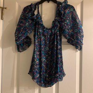 Nanette Lepore cold shoulder floral top